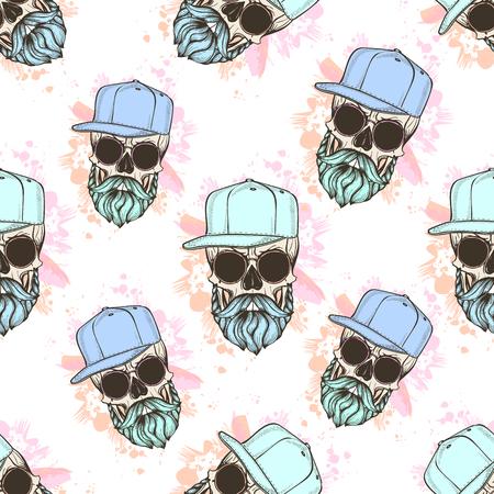 Patrón de color transparente con calavera, bigotes, sombrero y salpicaduras de color