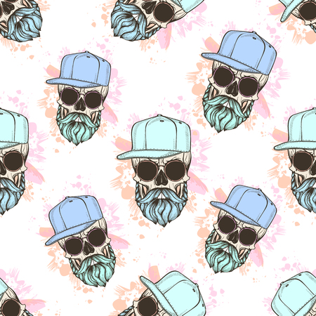 Seamless color pattern with skull, mustaches, hat and color splashes