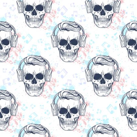 Nahtloses Muster mit Totenkopf, Kopfhörern, Farbspritzern und Notizen