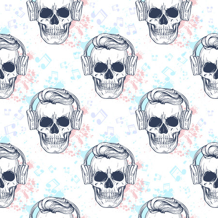 Seamless pattern with skull, headphones, color splashes and notes