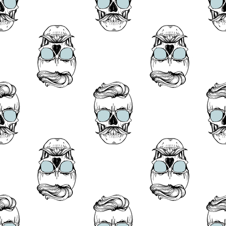 Seamless pattern with skull, mustaches and color sunglasses Imagens