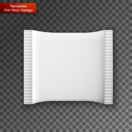 Blank white plastic sachet for medicine, condoms, drugs, coffee, sugar, salt, spices on transparent background with place for your design and branding