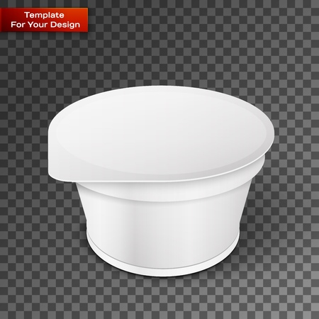 White Short And Stout Tub Food Plastic Container For Dessert Vettoriali