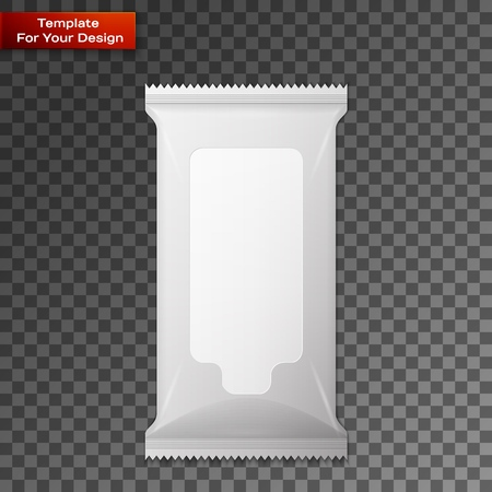 White wet wipes package isolated on transparent background