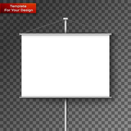 Roll up banner stand isolated on transparent background. Vector illustration, EPS 10 Ilustración de vector
