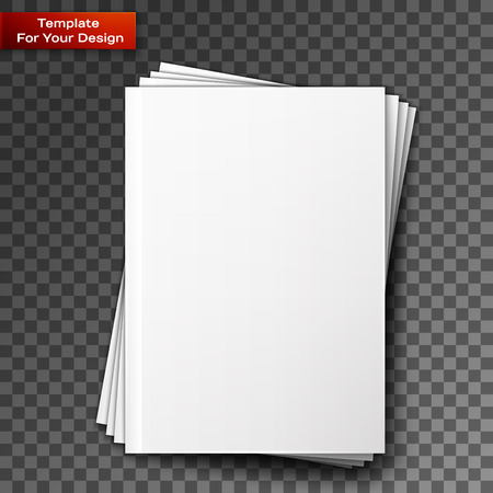 Stack of blank magazines template. on transparent background with soft shadows. Ready for your design. Stock Illustratie