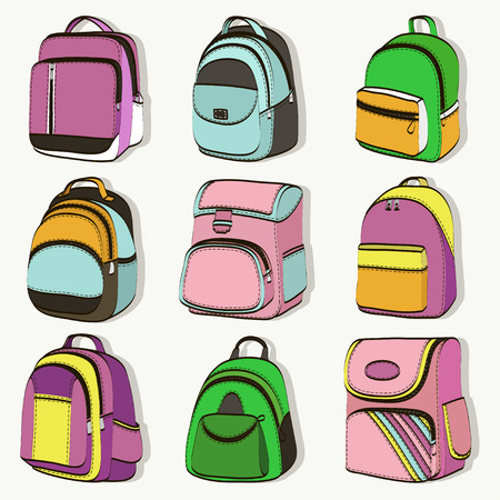 Colored teenager school backpacks set Vektorové ilustrace
