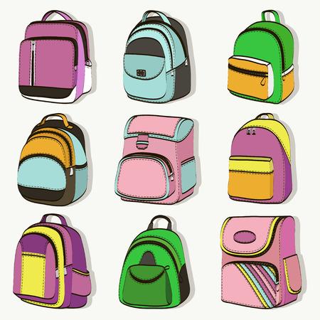 Conjunto de mochilas escolares de colores para adolescentes Ilustración de vector