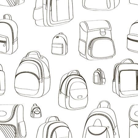 Colored teenager school backpacks pattern
