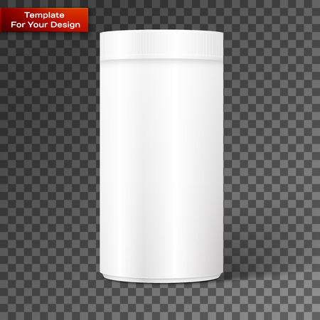 Empty white cylindrical box on the isolated background. Vector illustration, EPS 10