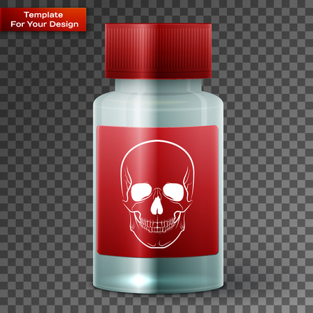 Medicine bottle with poisonous liquid On transparent Background