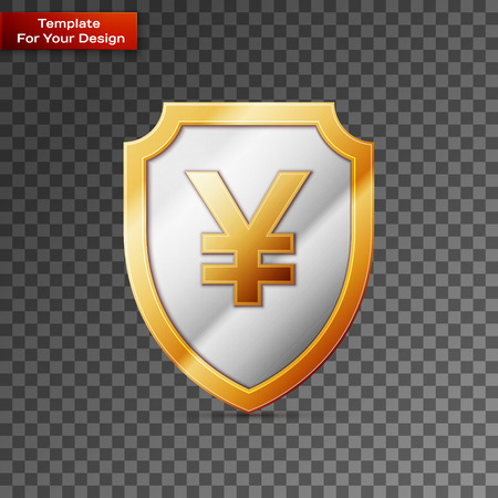 Shield with JPY sign On transparent Background. Vector illustration, EPS 10