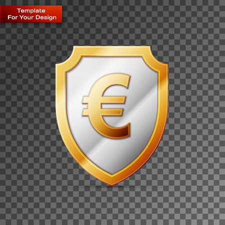Shield with euro sign On transparent Background. Vector illustration, EPS 10