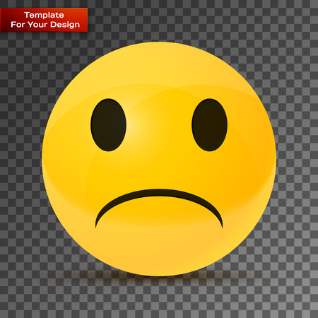 Yellow sad face On transparent Background