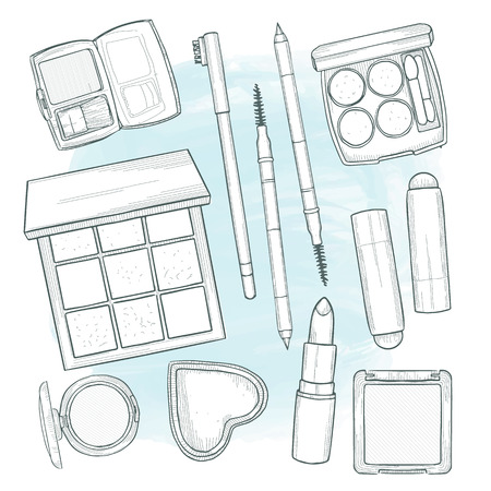 Vector illustration of makeup products, hand drawn art on a watercolor spot