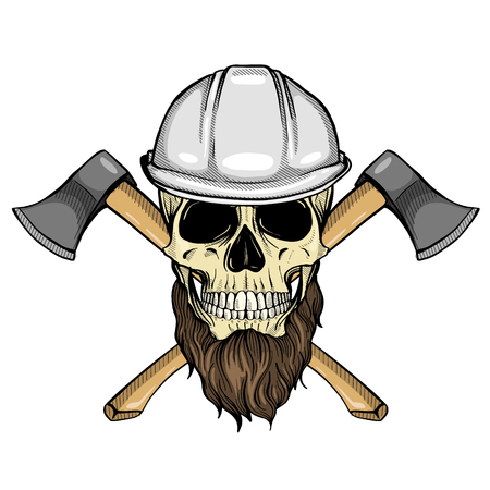 Hand drawn sketch, color skull with helmet, axes and beard Stock Illustratie