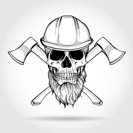 Croquis dessiné main, crâne avec haches
