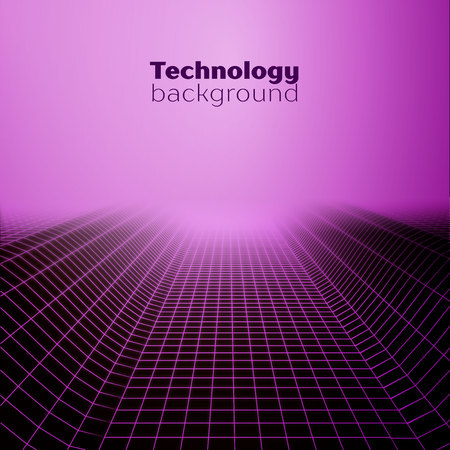 Wireframe landscape.Technology background Imagens