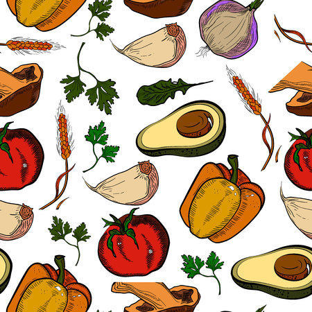 Colored healthy food pattern. Healthy lifestyle concept. Vector illustration, EPS 10