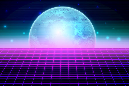Retro sci fi background with moon