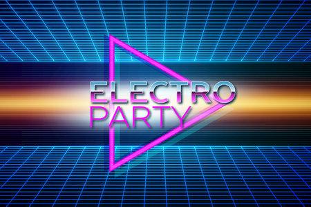 Retro futuristic background 80s style. Electro party