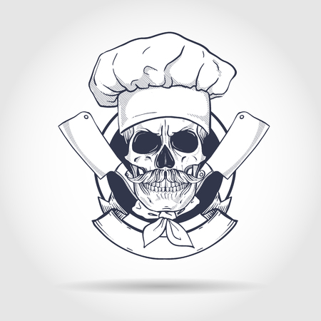 Hand drawn sketch, skull with cooks knife, cooks hat and mustaches