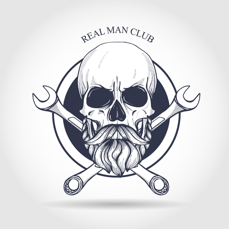 Hand drawn sketch, skull with wrench. Design elements for poster, emblem Vettoriali