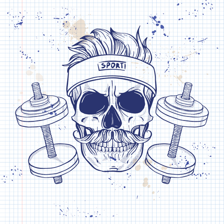Hand drawn sketch, angry sport skull with dumbbells, sweat band and mustaches on a notebook page