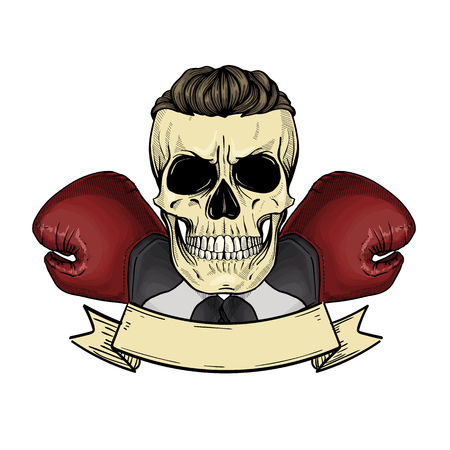 Color angry skull with boxing gloves