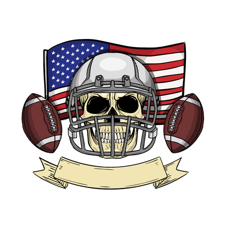 Sketch color skull american football Illustration