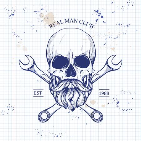 Sketch of biker rider skull on notebook page background. Vector illustration