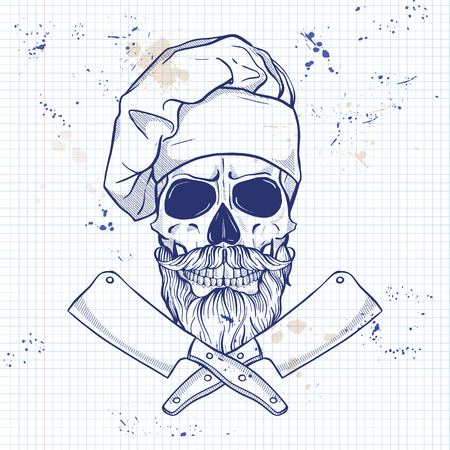 Hand drawn sketch, skull withbig cooks knife, cooks hat, mustaches and beard on a notebook page Ilustração