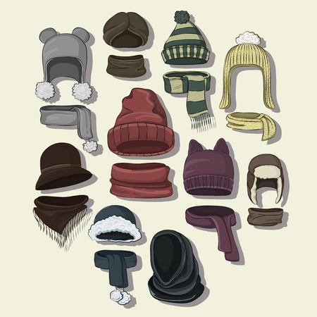 Winter or autumn headwear collection. Vector illustration, EPS 10