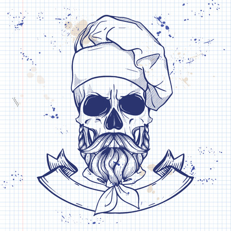 Hand drawn sketch, skull with cooks hat, mustaches and beard on a notebook page Stock Illustratie