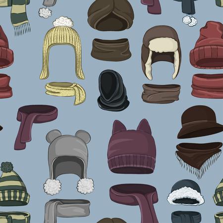 Winter or autumn headwear collection pattern. Vector illustration, EPS 10