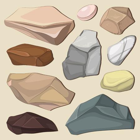 Set of color stones. Landscape design Vector illustration, EPS 10
