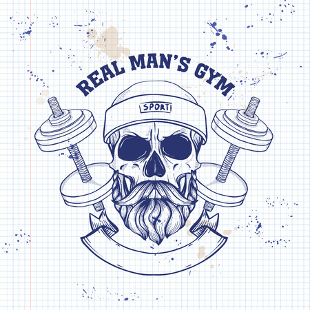 Hand drawn sketch, angry sport skull with dumbbells, sweat band and mustaches and beard on a notebook page
