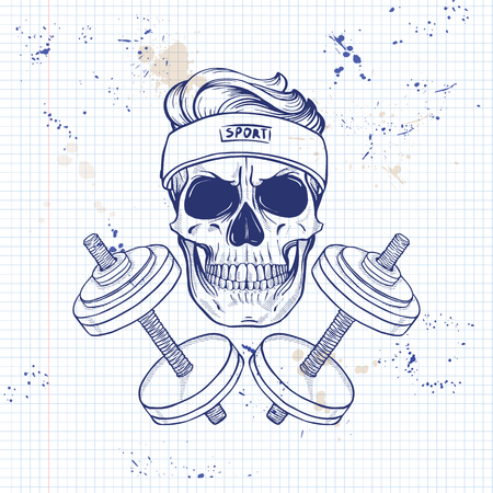 Hand drawn sketch, sport skull with dumbbells and sweat band on a notebook page