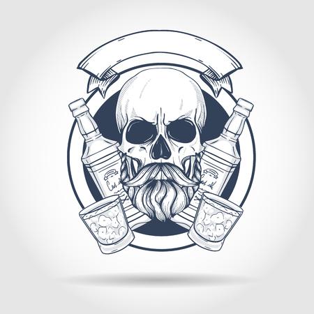 Sketch, barman skull Banque d'images - 116034915