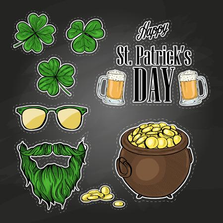 Stickers set for Saint Patricks Day, glass of beer, clover leaf, beard and mustaches, sunnglasses, pot of gold coins, lettering. Dark background Ilustração