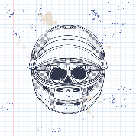 Hand drawn sketch, racer wheel icon on a notebook page  イラスト・ベクター素材