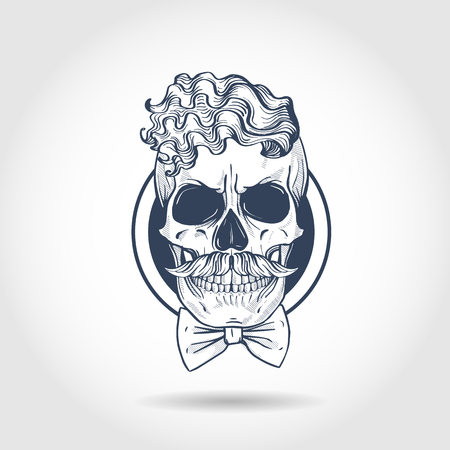 Hand drawn sketch, barman skull with beard