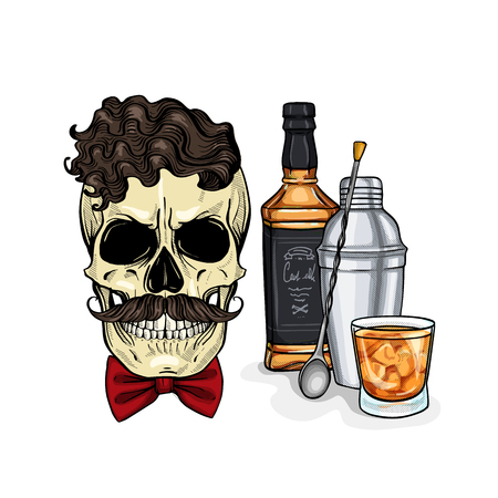 Hand drawn sketch, color barman skull with bow and mustaches, whiskey bottle, glass and shaker