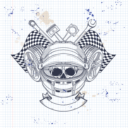Hand drawn sketch, racer skull with helmet, wrench, piston, wheel and finish flag on a notebook page