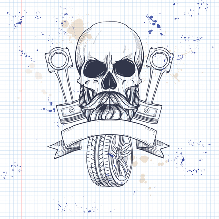 Hand drawn sketch, skull with piston and wheel, beard and mustaches on a notebook page