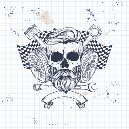 Hand drawn sketch, skull with wrench, piston, wheel, finish flag and beard and mustaches on a notebook page