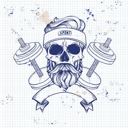 Hand drawn sketch, sport skull with dumbbells, sweat band, mustaches and beard on a notebook page