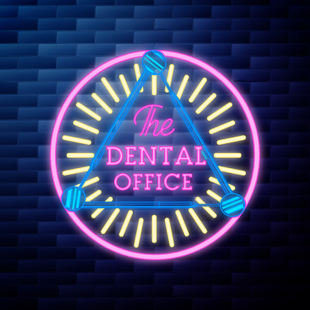 Vintage dental emblem glowing neon sign on brick wall background