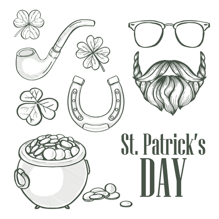 Sketch set for Saint Patricks Day, pot of gold coins, beard and mustaches, sunglasses, horseshoe, clover leaf, tobacco tube lettering 스톡 콘텐츠 - 125340744