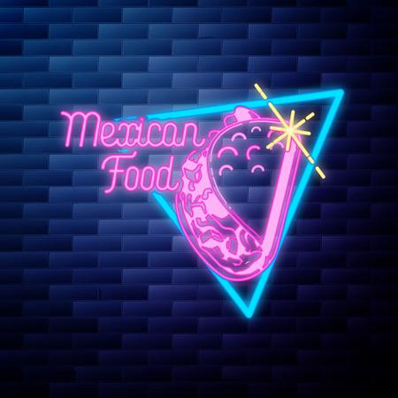 vintage dental emblem glowing neon sign on brick wall background Illustration